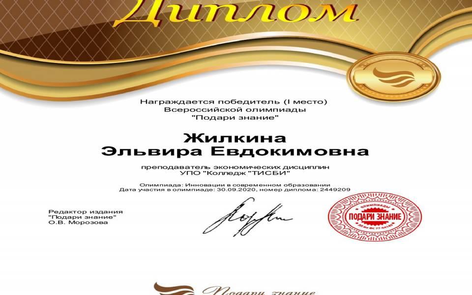 Диплом победителя Жилкина Эльвира